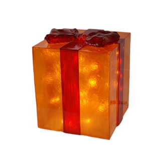 Illuminated - Christmas Gift Box Decoration - Gold with Red Bow - 26 in.