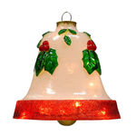 Illuminated - Christmas Hanging Holly Bell - 12 in. - White - Fiberglass