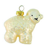 Little Lamb Christmas Ornament - Shatterproof - 2.5 in. - Ivory Pearl - 4 Pack