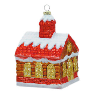 Log Cabin Christmas Ornament - Shatterproof - 4.5 in. - Red and Copper