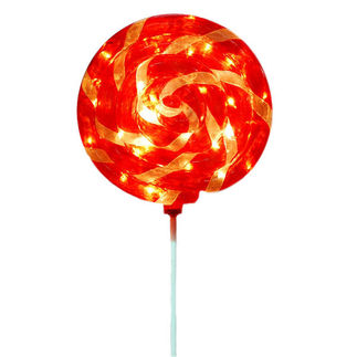 Illuminated - Christmas Lollipop Swirl Decoration - 43.5 in. - Red and White