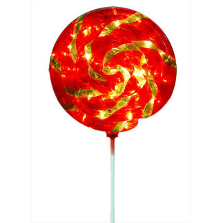 Illuminated - Christmas Lollipop Swirl Decoration - 43.5 in. - Red and Green
