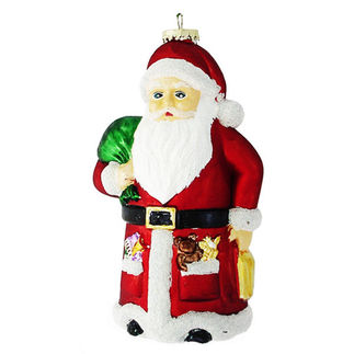 Large Santa Christmas Ornament - Shatterproof - 8 in. - Red and White