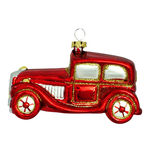 Antique Car Christmas Ornament - Shatterproof - 4 in. - Red - 3 Pack