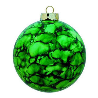 Marble Ball Christmas Ornament - Shatterproof - 3.15 in. - Green - 4 Pack