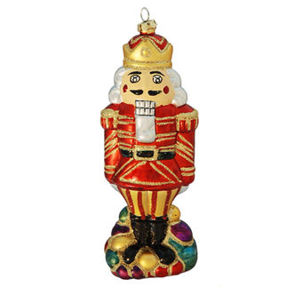 Nutcracker Christmas Ornament - Shatterproof - 7 in. - Red and Gold