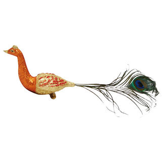 Glitter Peacock Clip Christmas Ornament - Shatterproof - 13 in. - Copper and Gold - 2 Pack