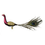 Peacock Clip Christmas Ornament - Shatterproof - 13 in. - Satin Burgundy and Coffee - 2 Pack