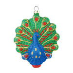 Glitter Peacock Christmas Ornament - Shatterproof - 4.5 in. - Green and Blue