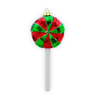 Peppermint Lollipop Christmas Ornament - Shatterproof - 4.5 in. - Red and Green - 4 Pack