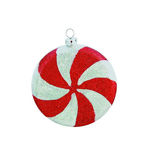Glitter Peppermint Christmas Ornament - Shatterproof - 4 in. - Red and White - 4 Pack