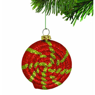 Glitter Peppermint Swirl Candy Christmas Ornament - Shatterproof - 6 in. - Red and Green - 4 Pack