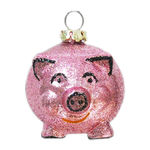 Glitter Piggy Bank Christmas Ornament - Shatterproof - 2.25 in. - Pink - 2 Pack