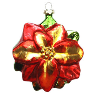 Traditional Poinsettia Christmas Ornament - Shatterproof - 3.5 in - Red - 2 Pack