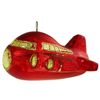 Airplane Christmas Ornament - Shatterproof - 3 in. - Satin Red - 2 Pack