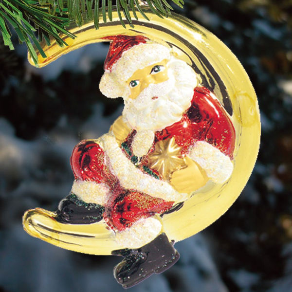 Santa On The Moon Christmas Ornament Shatterproof