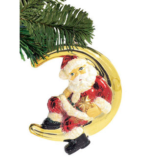 Santa on the Moon Christmas Ornament - Shatterproof - 7 in. - Red and Gold