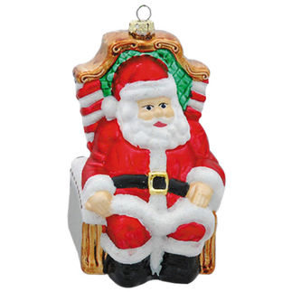 Sitting Santa Christmas Ornament - Shatterproof - 5 in. - Red