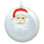 Santa Disc Christmas Ornament - Shatterproof - 5 in. - White
