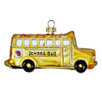 School Bus Christmas Ornament - Shatterproof - Satin Yellow - 4 in. - 3 Pack