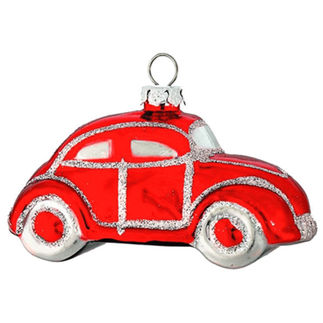 Small Car Christmas Ornament - Shatterproof - 2.5 in. - Red - 4 Pack