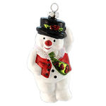 Snowman with a Tie Christmas Ornament - Shatterproof - 4.5 in. - White - 3 Pack