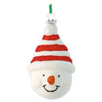 Glitter Snowman Head Christmas Ornament - Shatterproof - 4 in. - Red and White - 2 Pack