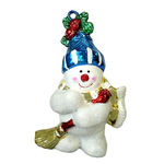 Sweeping Snowman Christmas Ornament - Shatterproof - 3 in. - White and Silver - 4 Pack