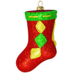 Glitter Stocking Christmas Ornament - Shatterproof - 5.5 in. - Red