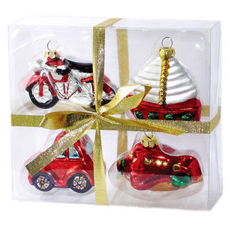 Assorted Vehicle Christmas Ornaments - Shatterproof - 3 in. - Red, Gold and Silver - 4 Pack