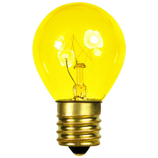 10 Watt - S11 - Transparent Yellow - 130 Volt - Intermediate Base - Party Light Bulb - Bulbrite 702810