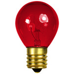 10 Watt - S11 - Transparent Red - 130 Volt - Intermediate Base - Party Light Bulb - Bulbrite 702710