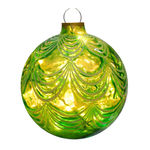 Illuminated - Christmas Sandstone Drape Ball - 16.5 in. - Green