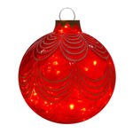 Illuminated - Christmas Sandstone Drape Ball - 16.5 in. - Red