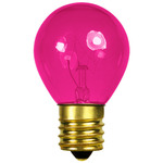 10 Watt - S11 - Transparent Pink - 130 Volt - Intermediate Base - Party Light Bulb - Bulbrite 702610