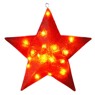 Illuminated - Christmas Star Decoration - 28 in. - Red