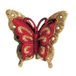 Butterfly Clip Christmas Ornament - Shatterproof - 3.5 in. - Gold and Burgundy - 4 Pack
