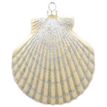 Large Clam Shell Christmas Ornament - Shatterproof - 4.5 in. - Ivory Pearl