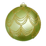 Draped Glitter Ball Christmas Ornament - Shatterproof - 4.7 in. - Sage and Gold - 2 Pack