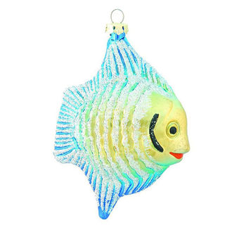 Fish Christmas Ornament - Shatterproof - 4.5 in. - Turquoise and Gold - 4 Pack