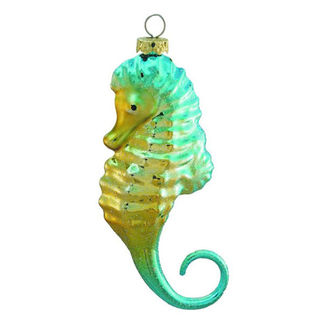 Seahorse Christmas Ornament - Shatterproof - 5 in. - Turquoise and Gold - 3 Pack