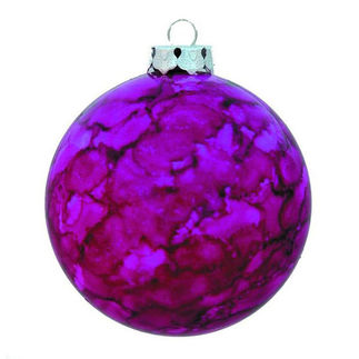 Marble Ball Christmas Ornament - Shatterproof - 3.15 in. - Purple - 4 Pack
