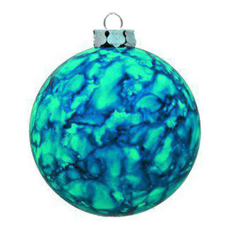 Marble Ball Christmas Ornament - Shatterproof - 3.15 in. - Turquoise - 4 Pack
