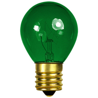 10 Watt - S11 - Transparent Green - 130 Volt - Intermediate Base - Party Light Bulb - Bulbrite 702410