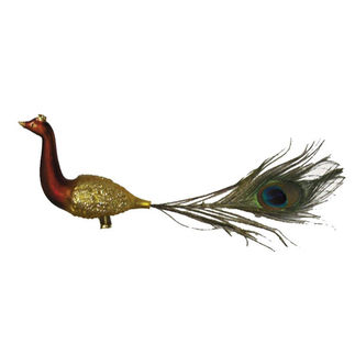 Peacock Clip Christmas Ornament - Shatterproof - 13 in. - Satin Copper and Gold - 2 Pack