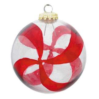 Transparent Peppermint Ball Christmas Ornament - Shatterproof - 3.15 in. - Clear and Red - 2 Pack