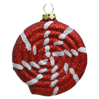 Glitter Peppermint Swirl Candy Christmas Ornament - Shatterproof - 6 in. - Red and White - 4 Pack