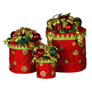 Illuminated - Christmas Gift Box Decoration - Red and Green - 170 Bulbs