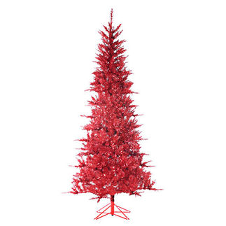 7.5 ft. Artificial Christmas Tree - Pre-Lit Red Tiffany Tinsel - 450 Mini Lights - Sterling 6015-75R