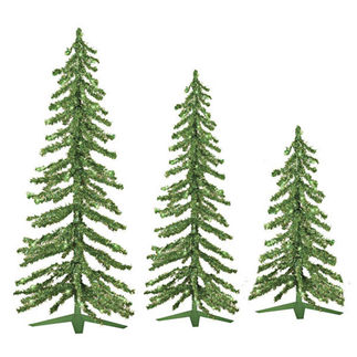 2 ft., 3 ft., 4 ft. Artificial Christmas Trees - Pre-Lit Lime Green Alpine Tinsel - 105 Mini Lights